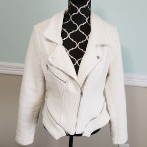 Blank NYC off-white tweed moto jacket